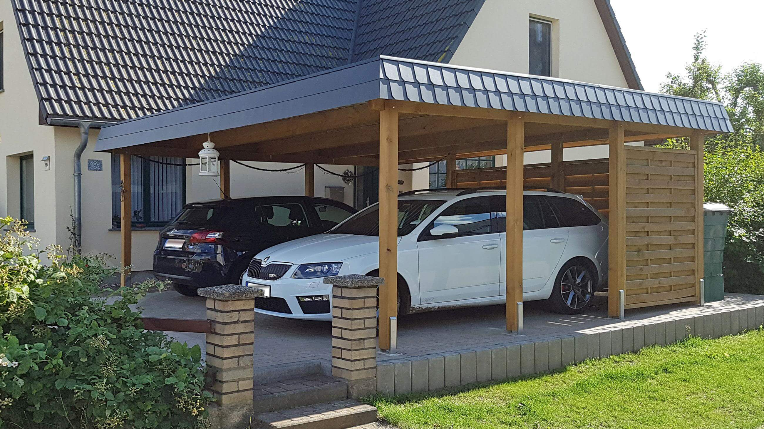 flachdach doppelcarport mit schindelblende news detail br ning carport. Black Bedroom Furniture Sets. Home Design Ideas